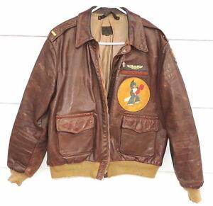 Original WWII Leather A-2 Flight Jacket - Nose Art - Shangri-La