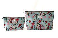 Lot de 2 Pochettes / Trousses scolaires Tissu Plastifié solide (Fleurs colorées)