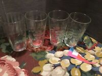 """Four Etched Ribbed Cordial Wine Glasses 3 3/8"""" Tall"""