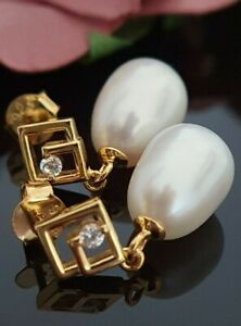 Sterling Silver 925 Yellow Gold Pearl Simulated Diamond Dangle Stud Earrings