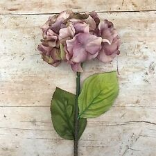 Antique Vintage Purple Faux Silk Hydrangea, Individual Artificial Luxury Flower
