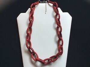 Women's Chunky Red And Black Acrylic Chain Link Necklace