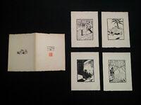 Beau portfolio signé Art Déco 1928 les quatre saisons de l'amour estampes