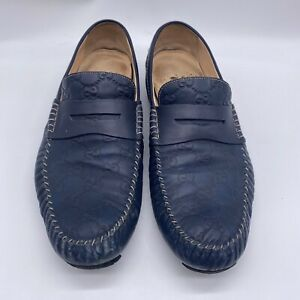 Gucci Mens 10.5 G 11 US Guccissima Driver Loafers Navy Blue Leather WORN