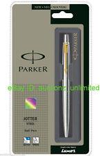 Parker Jotter SS Steel GT Ball Point Pen (Gold Trim) + Fine Quink Blue Ink + New