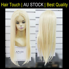 "Mono Top 100% Human Hair Wig 22-28"" Long Straigt Platinum Blonde Great Quality"