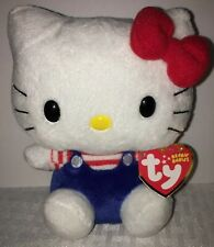 "Ty Beanie Babies 6"" Hello Kitty With Blue Overall Red Stiped Shirt and Red Bow"