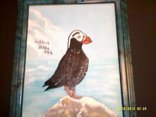 """NEW PUFFIN BIRD PAINTING  8"""" X 10""""  WITH A NICE FRAME  ORIGINAL + SIGNED"""