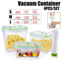 Pump +3 Plastic PP Pantry Food Storage Containers Set Vacuum Fruit Saver Kitchen