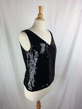Together Woman's Black Sleeveless Top w/ Sequins Shirt Size 12 Poly India