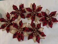 Lot Of 6 Vintage Handmade Plaid Christmas Poinsettia Ornaments