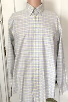 Lands End Shirt Mens Size L 16 16.5 Long Sleeve Check Large No Iron Work