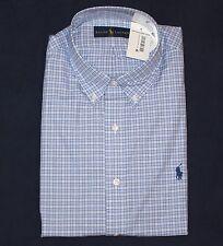 NEW $74.99 Polo Ralph Lauren 17.5 XL Dress Shirt Check Blue Button Front Pony