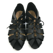 NEW Office Black Leather Lace Up Peep Toe Open Boho Hippie Summer Flat Sandals S