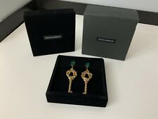 Dolce & Gabbana NEW D&G KEY Large Earrings  RUBY & Emerald BNIB Boxed WEG6K1