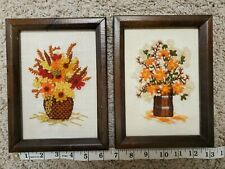 New listing Vintage Framed Embroidery Floral Bouquet, Flowers Retro Wall Art Decor