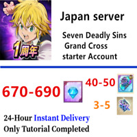 [JP] [INSTANT] 670-690 Gems 40+SSR Tickets Seven Deadly Sins Grand Cross Account