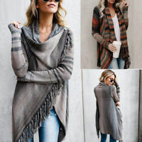 Womens Irregular Tassel Knitted Cardigan Sweater Poncho Shawl Coat Jacket Tops