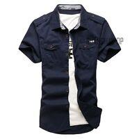 New Men's Casual Short Sleeve Cargo T-shirts Military  Double Pockets Shirt