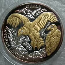 Liberia 10 Dollars 2004 Silver Proof Gilt Diamond Coin, Chile Andean Condors