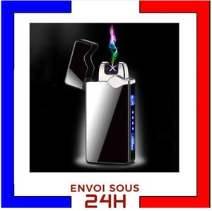 Briquet Tempete Arc Electrique USB  plasma rechargeable coupe vent sans gaz Noir
