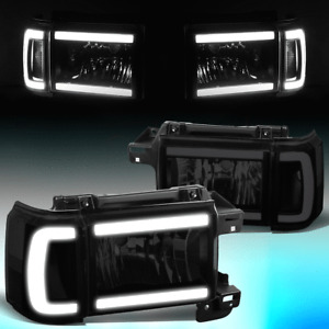 FOR 1987-1991 FORD BRONCO F150 F250 LED DRL HEADLIGHT CORNER LAMPS SMOKED CLEAR