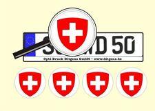 4 x Nummernschild Aufkleber Schweiz Suisse AU Ersatz Plakette Flagge