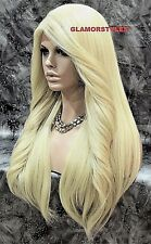 Long Layered Bleach Blonde Full Lace Front Wig Heat Ok Hair Piece #613 NWT
