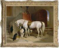 Hand painted Old Master-Art Antique Oil painting Animal horse dog on Canvas
