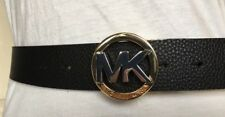 MICHAEL KORS BELT REVERSIBLE TEXTURED BLACK/LUGGAGE WITH SILVER/GOLD MK BUCKLE