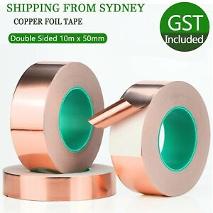 Double Sided Copper Foil Tape 10m x 50mm EMI Shielding Conductive Adhesive Tapes