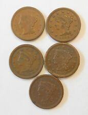 Group of 5 Braided Hair Large Cent 1851 1852 1853 1854 1856 Us Coins
