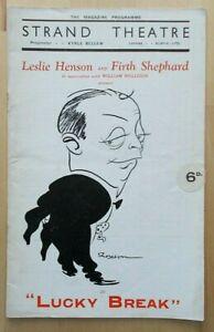 Lucky Break programme Strand Theatre 1935 Leslie Henson Charles Stone Aletha Orr