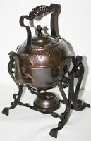 Vintage COPPER SPIRIT KETTLE with Iron Handle ON WROUGHT IRON STAND [PL1059]
