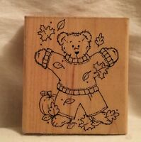 JRL Design Q285 Beary Fun Fall Bear Stamp Wood
