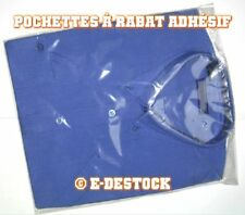 100 Pochettes Sachets plastique rabat adhesif 220 x 280 mm - polypropylène 40mic