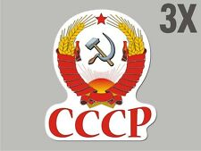 3 USSR CCCP Russian shaped stickers flag crest decal car bike Stickervinyl CN040