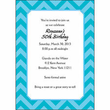 25 Personalized Birthday Party Invitations  - BP-024 Chevron Cyan Blue - Trendy!
