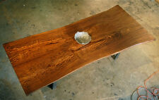 Bronzed U leg dining table, reclaimed bookmatched mango slabs