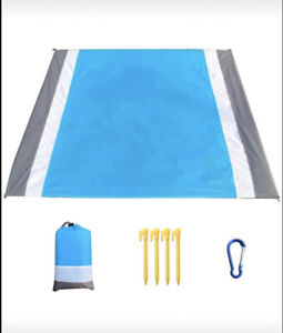 "Sand-Free Blue Beach Blanket 79"" x 83"" Waterproof Nylon w/ 4 Stakes & Pouch NEW"