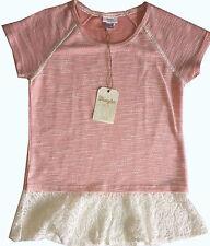 NWT Women's Wrangler Scoop Neck Lace Trim Hatch Short Sleeve Coral Top Shirt M