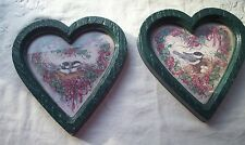 Home Interiors Pair Of Chickadees Dark Green Heart Shaped Frame Vintage