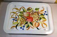Vintage Mid Century Metal Lap TV Bed Tray Retro Fruit Pattern Folding White