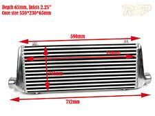 "Universal Medium/Large Front Mount Alloy Intercooler 550x230x65mm 2.25"" Inlets"