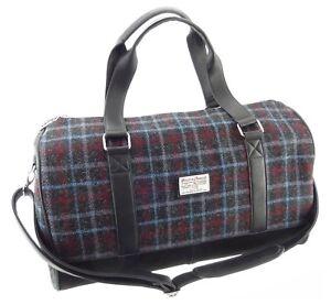 100% Harris Tweed Charcoal Check Weekend Travel Bag New - LB1026 COL48