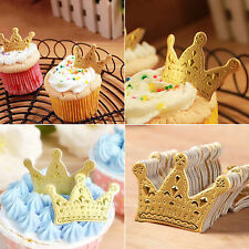 50pcs Gold Crown Cupcake Paper Cake Topper Baby Shower Birthday Party Decoration
