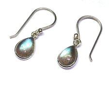 Handmade in 925 Sterling Silver, Real Labradorite Teardrop Drop Earrings & Bag