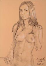 Originale AKT Zeichnung Nude Drawing Line Study auf Papier on Paper A3 2034