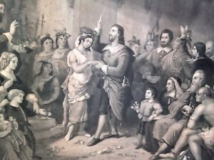 Vintage Antique OLD 1850s The Marriage of Pocahontas John McRae Engraving Print