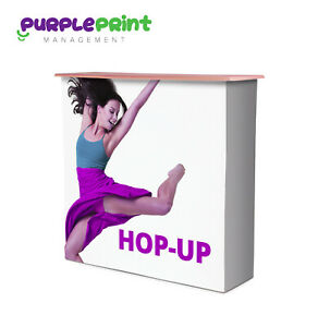 Pop Up counter - Hop Up exhibition stand - Fabric printed graphics included